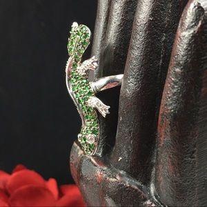 Jewelry - Sterling Silver CZ Green Lizard Ring 9.5